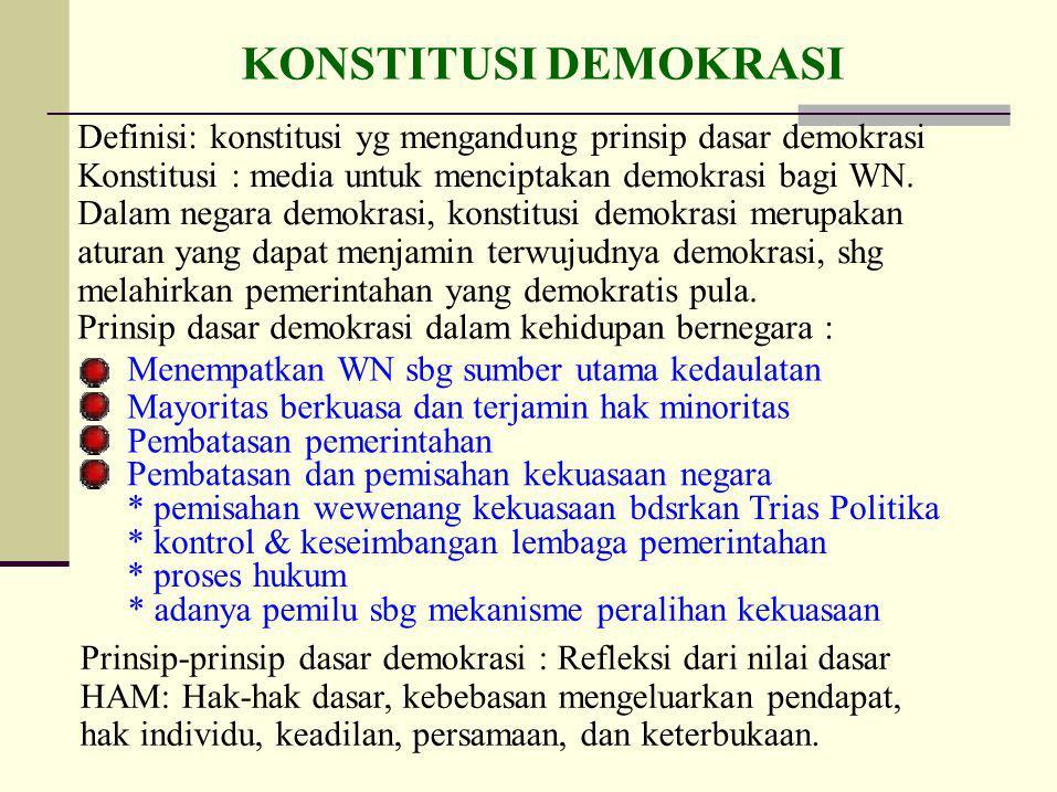 MODEL - MODEL DEMOKRASI DEMOKRASI LIBERAL : pemerintahan dibatasi oleh UU dan Pemilu bebas yang diselenggarakan dalam waktu yang sesuai.