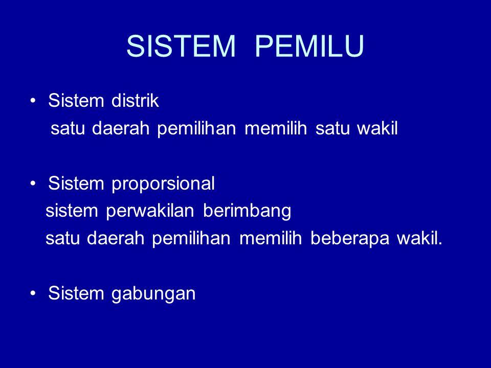 SISTEM PEMILU Sistem distrik satu daerah pemilihan memilih satu wakil Sistem proporsional sistem perwakilan berimbang satu daerah pemilihan memilih be