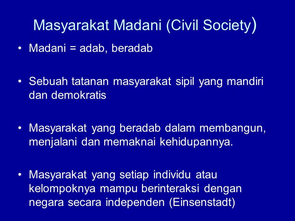 Masyarakat Madani (Civil Society ) Madani = adab, beradab Sebuah tatanan masyarakat sipil yang mandiri dan demokratis Masyarakat yang beradab dalam me