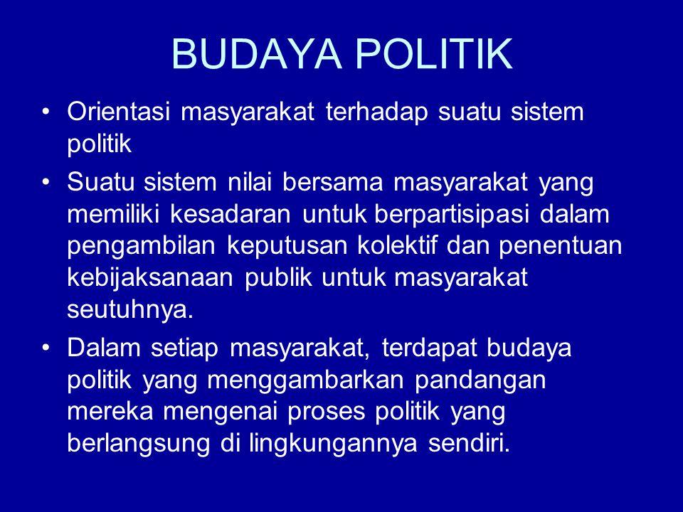 BUDAYA POLITIK Orientasi masyarakat terhadap suatu sistem politik Suatu sistem nilai bersama masyarakat yang memiliki kesadaran untuk berpartisipasi d