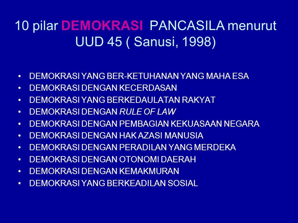 10 pilar DEMOKRASI PANCASILA menurut UUD 45 ( Sanusi, 1998) DEMOKRASI YANG BER-KETUHANAN YANG MAHA ESA DEMOKRASI DENGAN KECERDASAN DEMOKRASI YANG BERK