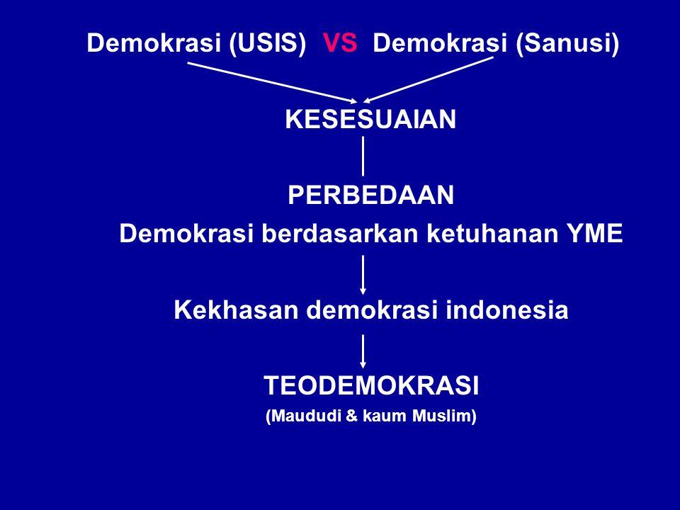 TEODEMOKRASI (Maududi & kaum Muslim) : Demokrasi dalam kontek kekuatan Tuhan Yang Maha Esa DEMOKRASI UNIVERSAL (Usis, 1998) : demokrasi yang bernuansa sekuler