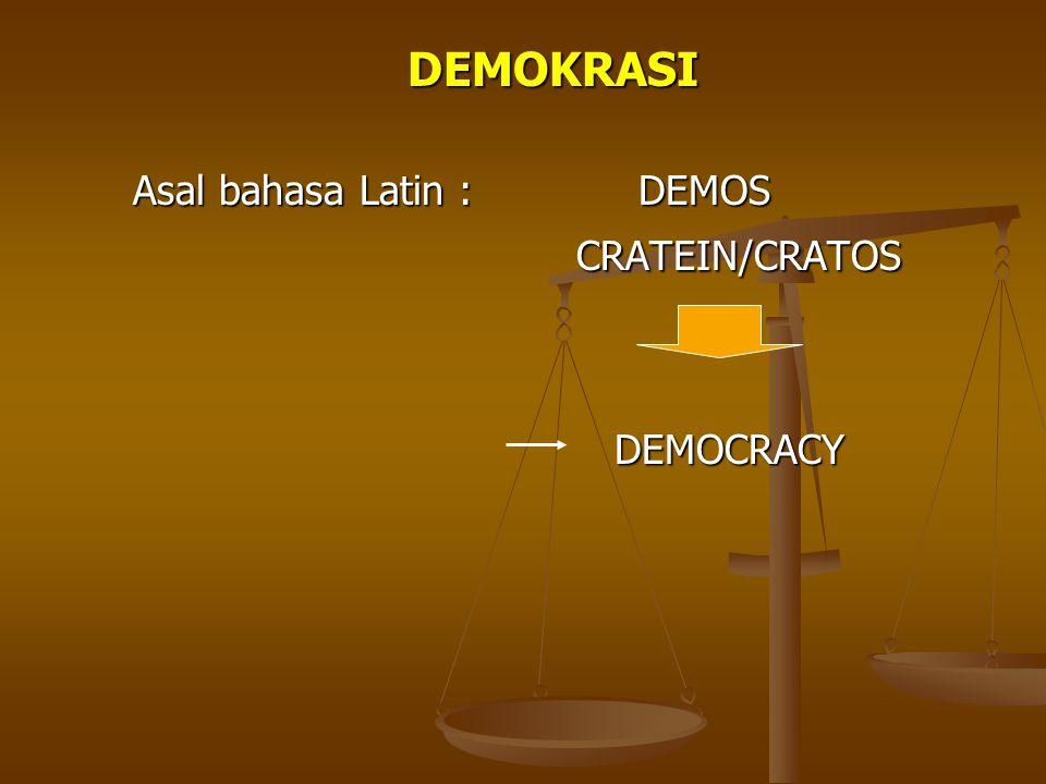 DEMOKRASI Asal bahasa Latin : DEMOS CRATEIN/CRATOS CRATEIN/CRATOS DEMOCRACY DEMOCRACY