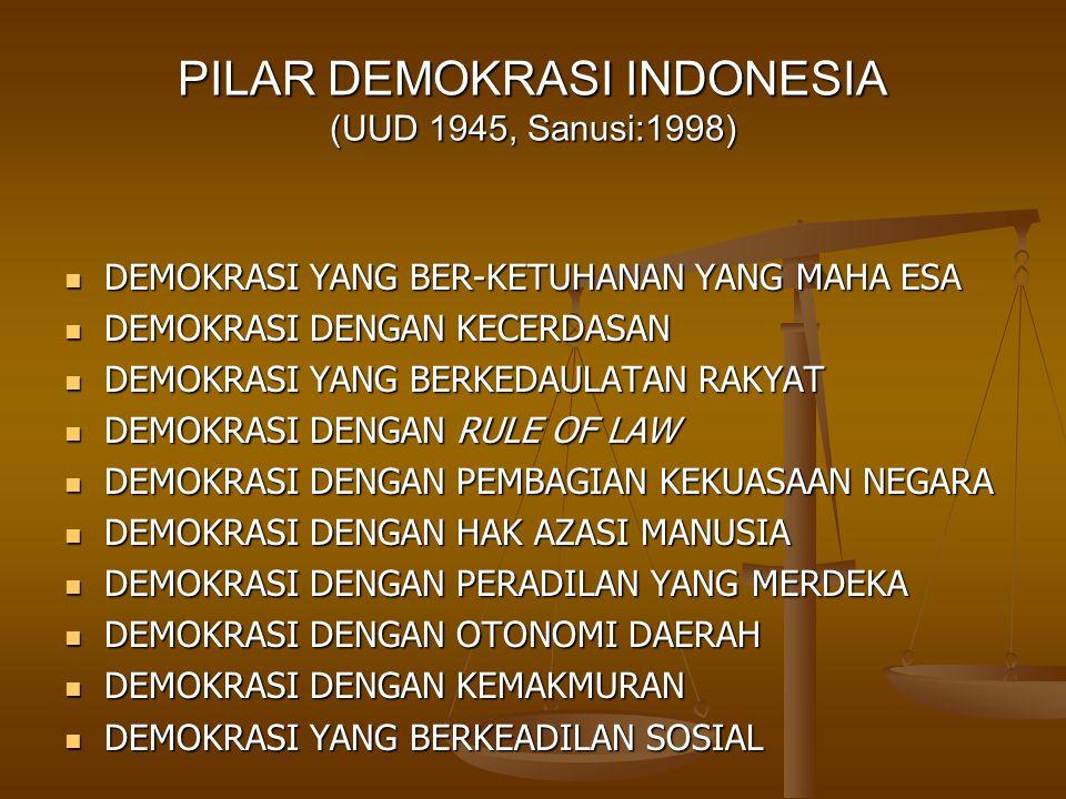PILAR DEMOKRASI INDONESIA (UUD 1945, Sanusi:1998) DEMOKRASI YANG BER-KETUHANAN YANG MAHA ESA DEMOKRASI YANG BER-KETUHANAN YANG MAHA ESA DEMOKRASI DENG