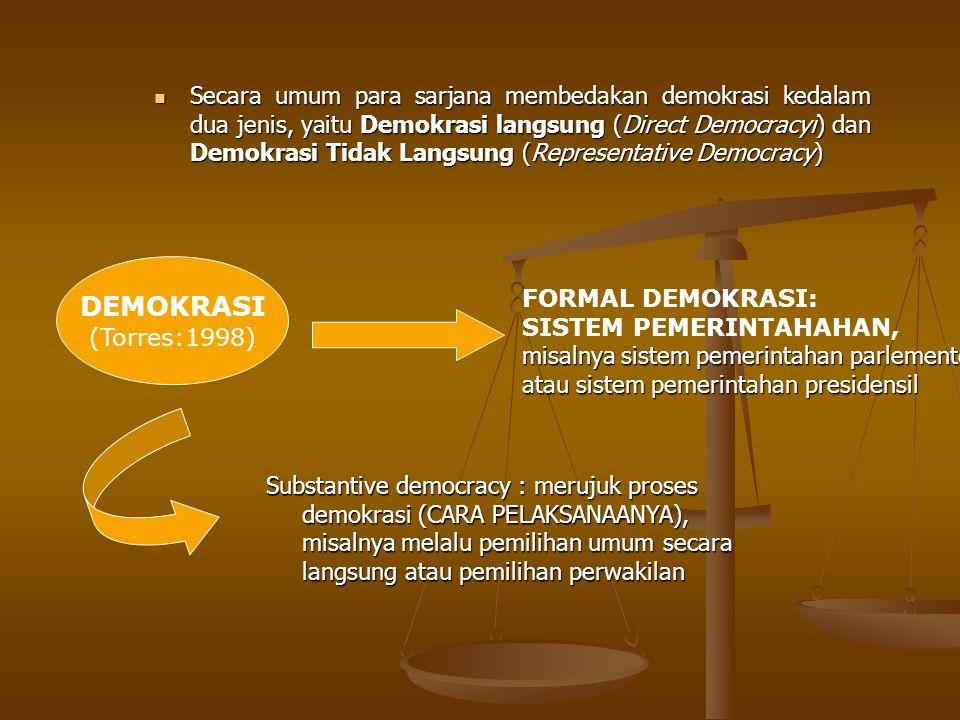 DEMOKRASI (Torres:1998) FORMAL DEMOKRASI: SISTEM PEMERINTAHAHAN, misalnya sistem pemerintahan parlementer atau sistem pemerintahan presidensil Substan