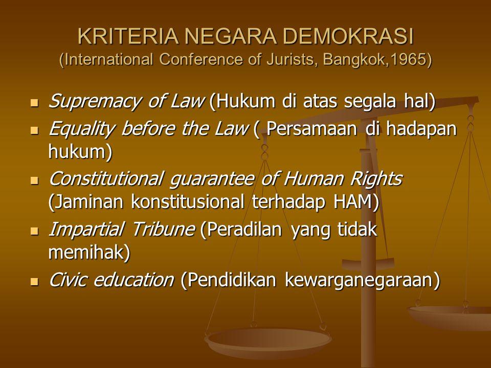 KRITERIA NEGARA DEMOKRASI (International Conference of Jurists, Bangkok,1965) Supremacy of Law (Hukum di atas segala hal) Supremacy of Law (Hukum di a