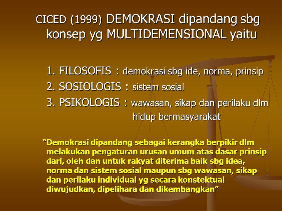 CICED (1999) DEMOKRASI dipandang sbg konsep yg MULTIDEMENSIONAL yaitu 1. FILOSOFIS : demokrasi sbg ide, norma, prinsip 2. SOSIOLOGIS : sistem sosial 3
