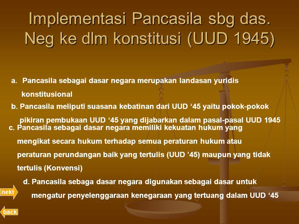 Implementasi Pancasila sbg das. Neg ke dlm konstitusi (UUD 1945) nekt back a.Pancasila sebagai dasar negara merupakan landasan yuridis konstitusional