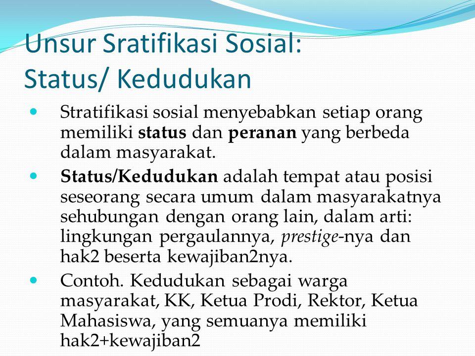 Unsur Sratifikasi Sosial: Status/ Kedudukan Stratifikasi sosial menyebabkan setiap orang memiliki status dan peranan yang berbeda dalam masyarakat. St