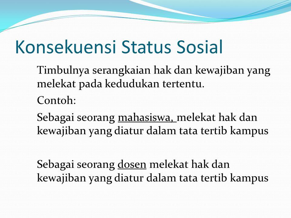 Konsekuensi Status Sosial Timbulnya serangkaian hak dan kewajiban yang melekat pada kedudukan tertentu. Contoh: Sebagai seorang mahasiswa, melekat hak