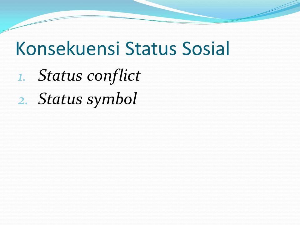 Konsekuensi Status Sosial 1. Status conflict 2. Status symbol