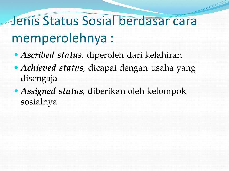 Jenis Status Sosial berdasar cara memperolehnya : Ascribed status, diperoleh dari kelahiran Achieved status, dicapai dengan usaha yang disengaja Assig