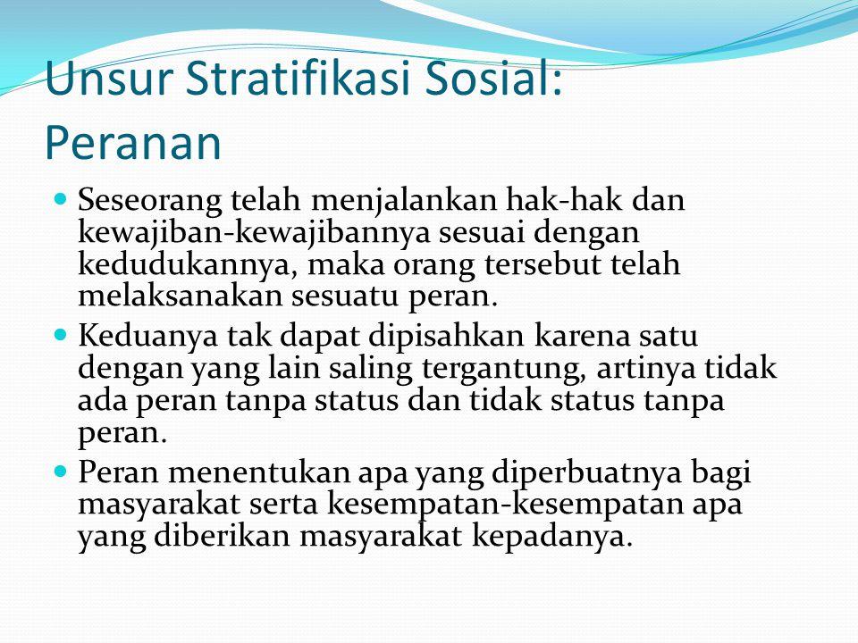 Unsur Stratifikasi Sosial: Peranan Seseorang telah menjalankan hak-hak dan kewajiban-kewajibannya sesuai dengan kedudukannya, maka orang tersebut tela