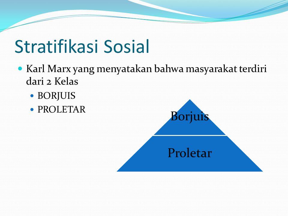 Stratifikasi Sosial Karl Marx yang menyatakan bahwa masyarakat terdiri dari 2 Kelas BORJUIS PROLETAR Borjuis Proletar