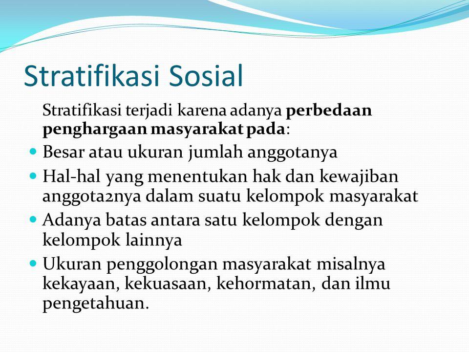 Fungsi Stratifikasi Sosial dalam Masyarakat 1.