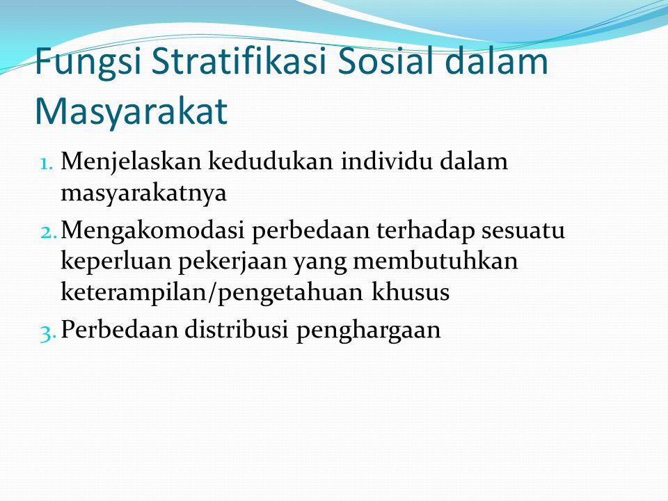 Fungsi Stratifikasi Sosial dalam Masyarakat 1. Menjelaskan kedudukan individu dalam masyarakatnya 2. Mengakomodasi perbedaan terhadap sesuatu keperlua