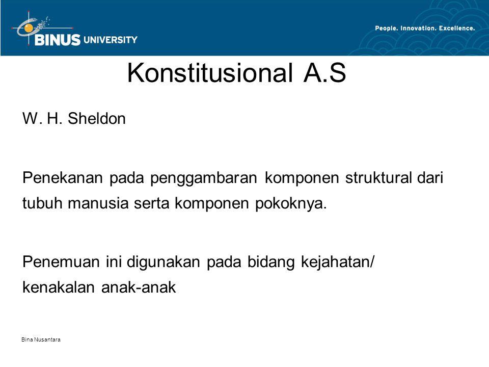Bina Nusantara Konstitusional A.S W. H. Sheldon Penekanan pada penggambaran komponen struktural dari tubuh manusia serta komponen pokoknya. Penemuan i