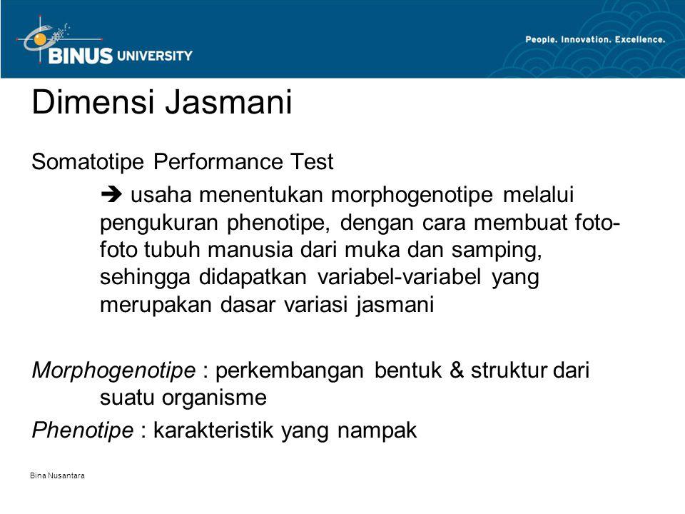 Bina Nusantara Dimensi Jasmani Somatotipe Performance Test  usaha menentukan morphogenotipe melalui pengukuran phenotipe, dengan cara membuat foto- f