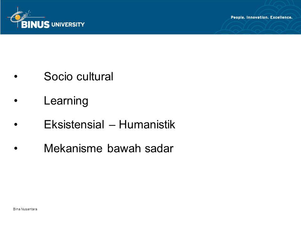 Bina Nusantara Socio cultural Learning Eksistensial – Humanistik Mekanisme bawah sadar