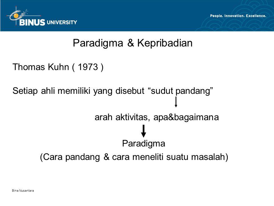 "Bina Nusantara Thomas Kuhn ( 1973 ) Paradigma & Kepribadian Setiap ahli memiliki yang disebut ""sudut pandang"" arah aktivitas, apa&bagaimana Paradigma"