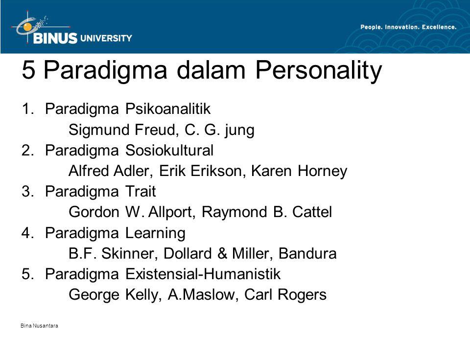 Bina Nusantara 5 Paradigma dalam Personality 1.Paradigma Psikoanalitik Sigmund Freud, C. G. jung 2.Paradigma Sosiokultural Alfred Adler, Erik Erikson,