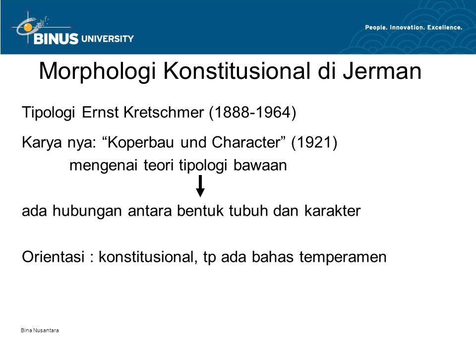 Bina Nusantara 3 komponen/ dimensi jasmani : 1.Tipe Endomorph > Komponen endomorphy dominan > organ2 internal & seluruh sistem digestif yang berasal dari endoderm sangat berperan > Tampak fisik : lembut, gemuk