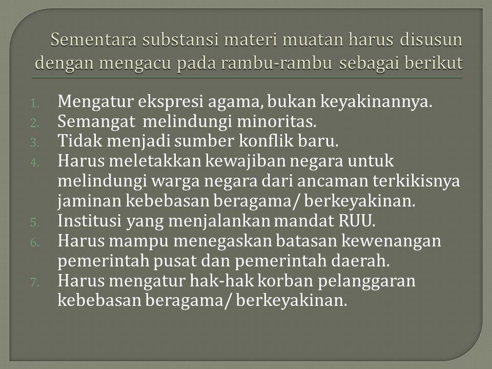 1. Mengatur ekspresi agama, bukan keyakinannya. 2. Semangat melindungi minoritas. 3. Tidak menjadi sumber konflik baru. 4. Harus meletakkan kewajiban