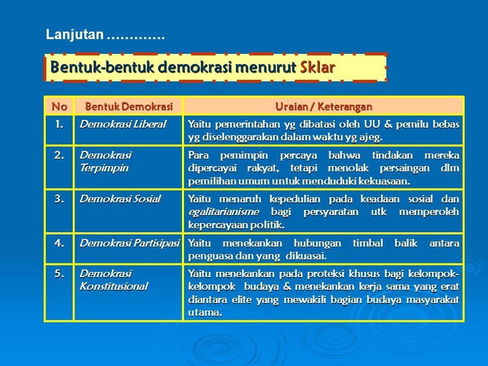 Lanjutan …………. Bentuk-bentuk demokrasi menurut Sklar No Bentuk Demokrasi Uraian / Keterangan 1. Demokrasi Liberal Yaitu pemerintahan yg dibatasi oleh