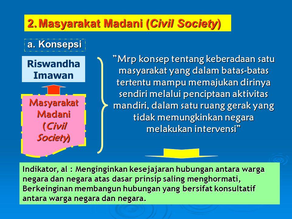 """a.Konsepsi Masyarakat Madani (Civil Society) Riswandha Imawan """"Mrp konsep tentang keberadaan satu masyarakat yang dalam batas-batas tertentu mampu mem"""