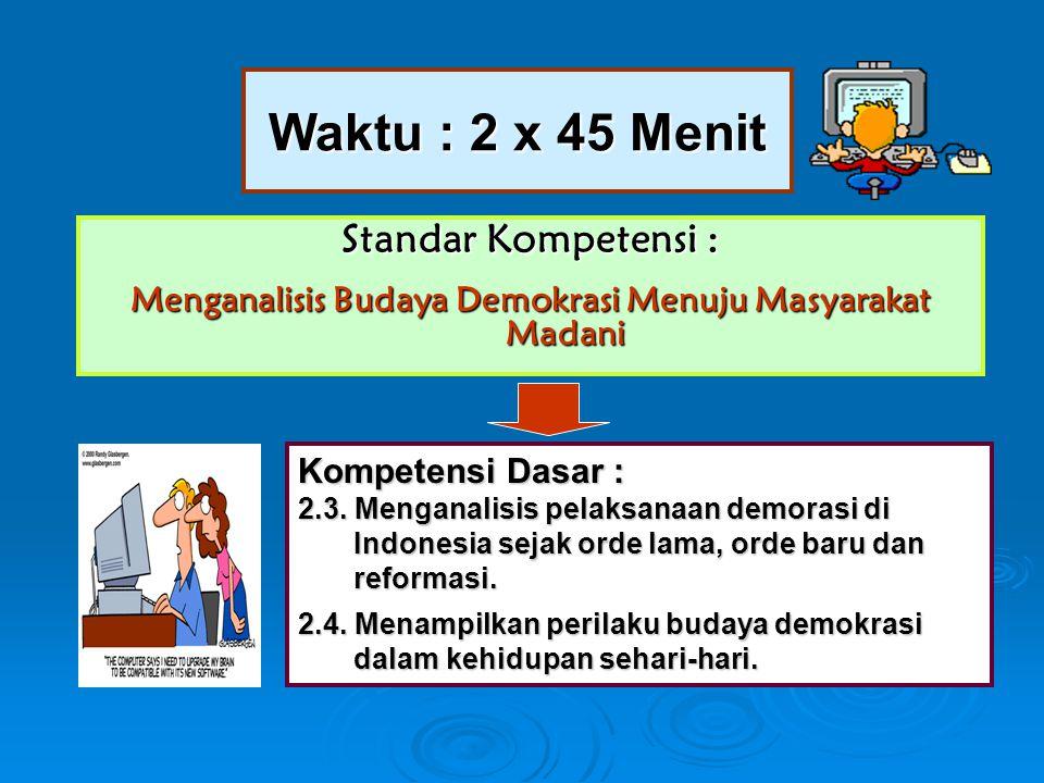 Waktu : 2 x 45 Menit Standar Kompetensi : Menganalisis Budaya Demokrasi Menuju Masyarakat Madani Kompetensi Dasar : 2.3. Menganalisis pelaksanaan demo