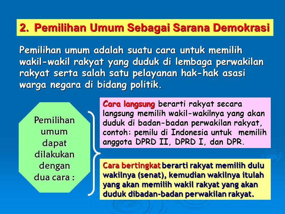 2.Pemilihan Umum Sebagai Sarana Demokrasi Pemilihan umum adalah suatu cara untuk memilih wakil-wakil rakyat yang duduk di lembaga perwakilan rakyat se