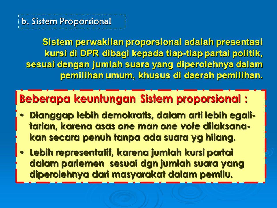 b.Sistem Proporsional Sistem perwakilan proporsional adalah presentasi kursi di DPR dibagi kepada tiap-tiap partai politik, sesuai dengan jumlah suara