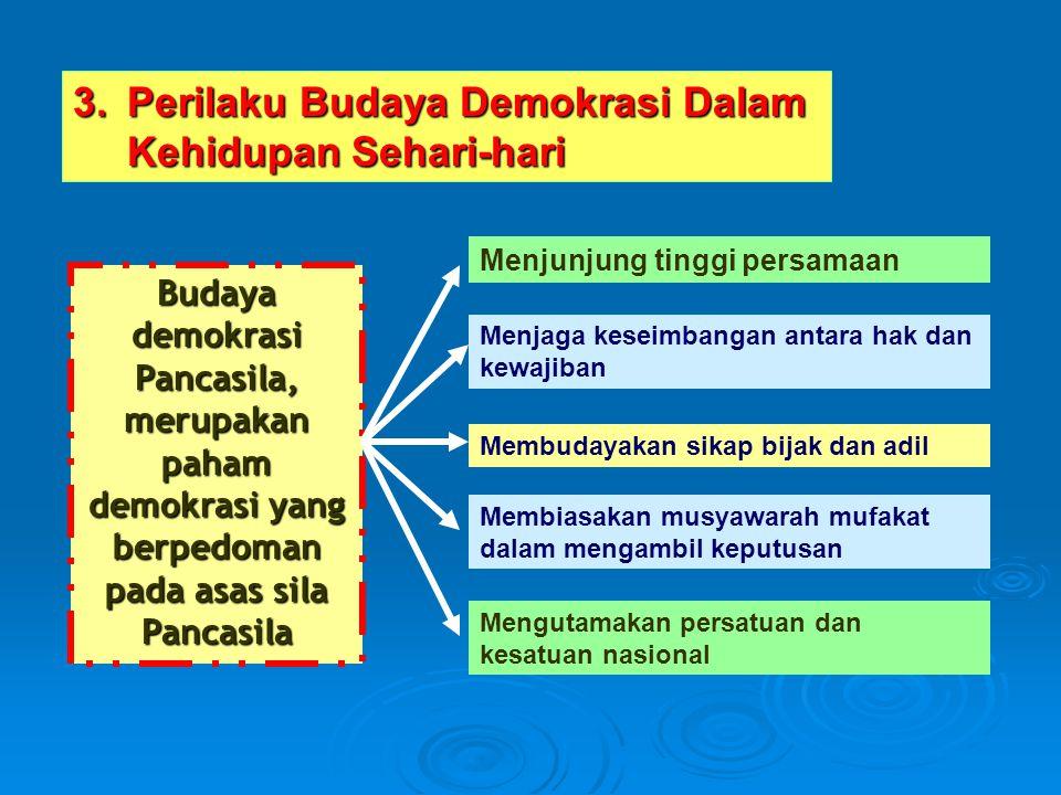 3.Perilaku Budaya Demokrasi Dalam Kehidupan Sehari-hari Budaya demokrasi Pancasila, merupakan paham demokrasi yang berpedoman pada asas sila Pancasila