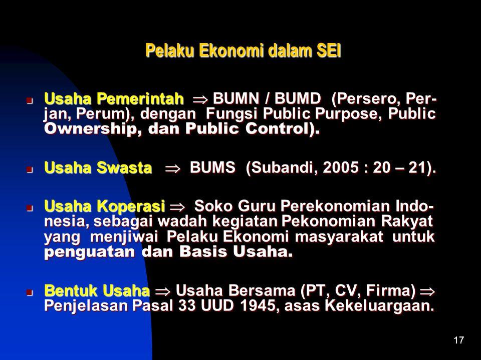 16 Variasi Sistem Ekonomi Indonesia Sistem Ekonomi Campuran  Mekanisme Pasar dengan Persaingan Ter- kendali dan Perencanaan (Dumairy, 1997 : 35). Sis