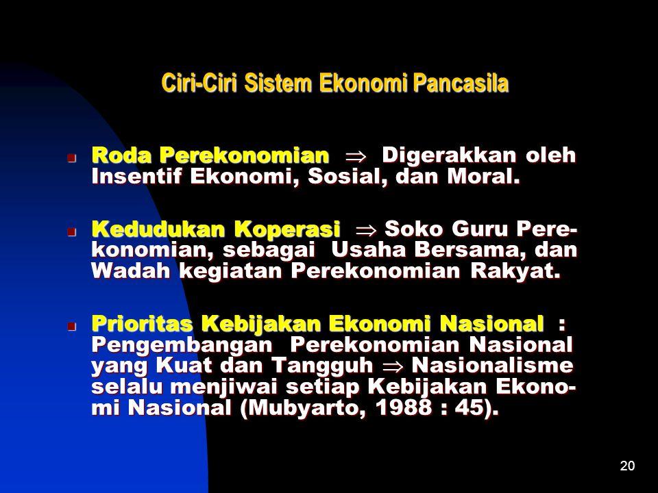 19 Alasan Sistem Ekonomi Pancasila Pembangunan Ekonomi  Pembangunan Sistem Eko- nomi yang sesuai bagi Bangsa Indonesia  Pemba- ngunan Masyarakat dan
