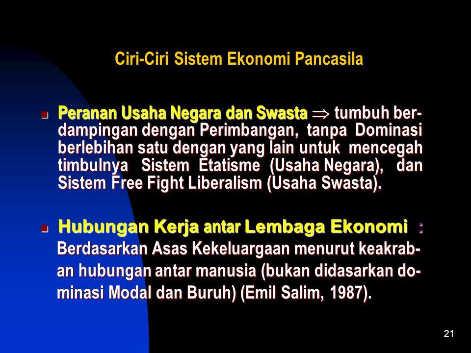 20 Ciri-Ciri Sistem Ekonomi Pancasila Roda Perekonomian  Digerakkan oleh Insentif Ekonomi, Sosial, dan Moral. Kedudukan Koperasi  Soko Guru Pere- ko