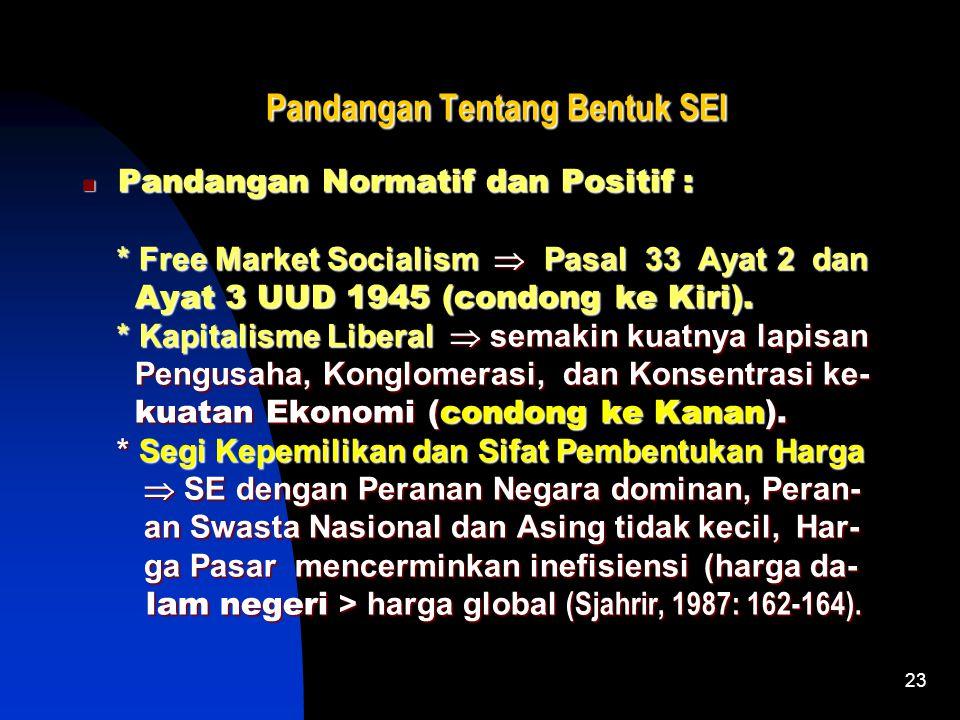 22 Ciri-Ciri Sistem Ekonomi Pancasila Masyarakat berperan Sentral  Unsur Ekonomi swasta, produksi dikerjakan oleh semua untuk se- Masyarakat berperan