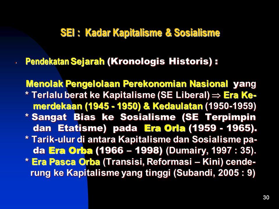 29 SEI : Kadar Kapitalisme & Sosialisme Pendekatan Faktual-Struktural : Pendekatan Faktual-Struktural : * Peran Pemerintah dalam Struktur ekonomi : *