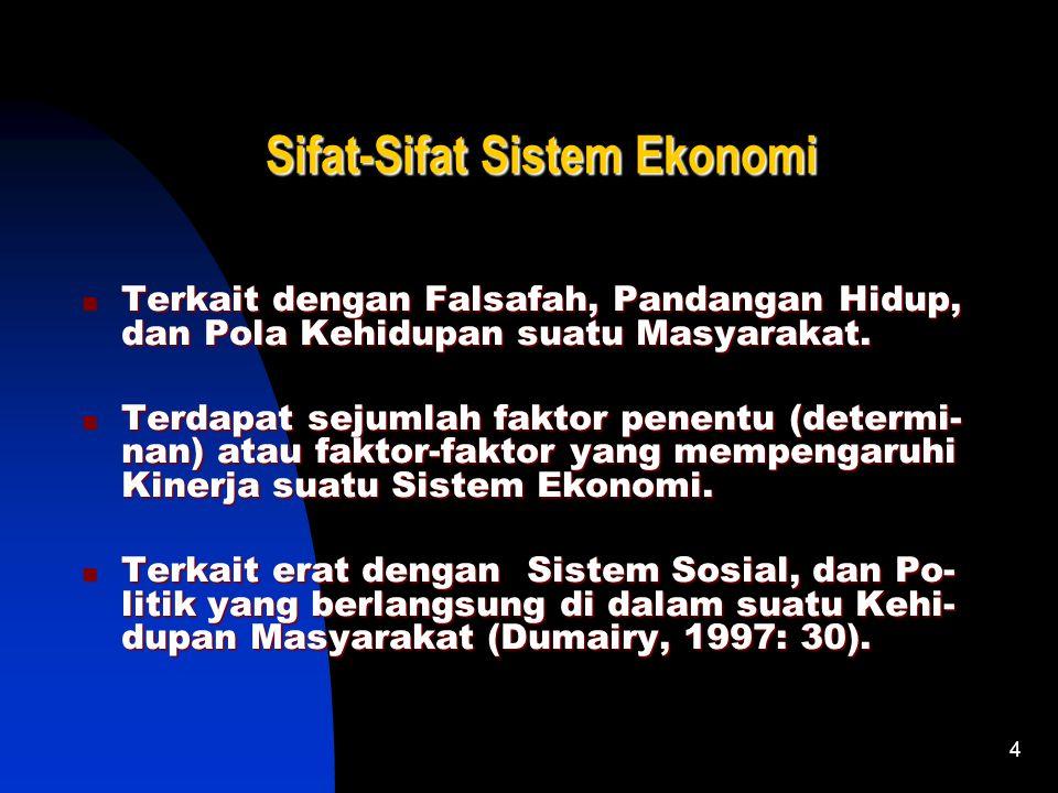 3 Makna Sistem Ekonomi Makna Sistem Ekonomi Sekumpulan Komponen dan lembaga-lem- baga Ekonomi yang Saling Berhubungan, Berinteraksi, Menunjang, dan Me