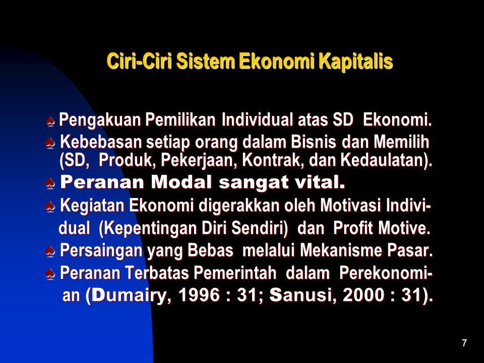 6 Arti Sistem Ekonomi Kapitalis Suatu SE dimana seluruh kegiatan Ekonomi mulai dari produksi, distribusi dan konsumsi diserahkan sepenuhnya kepada mek