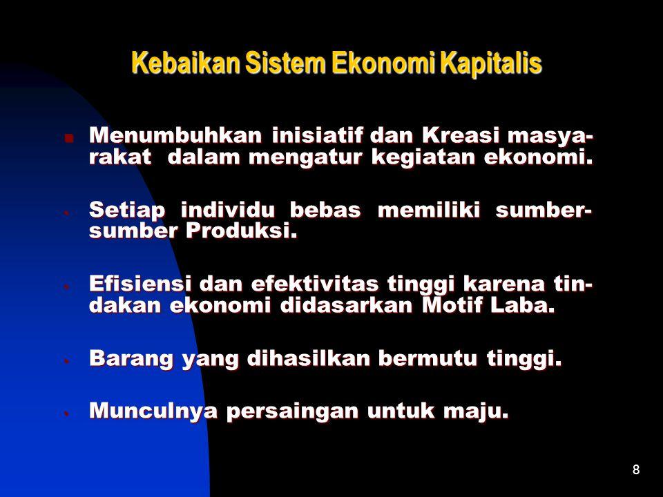 7 Ciri-Ciri Sistem Ekonomi Kapitalis ♠ Pengakuan Pemilikan Individual atas SD Ekonomi. ♠ Pengakuan Pemilikan Individual atas SD Ekonomi. ♠ Kebebasan s