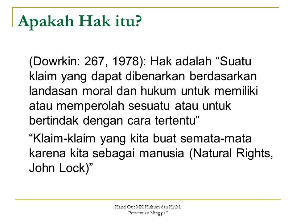 """Apakah Hak itu? (Dowrkin: 267, 1978): Hak adalah """"Suatu klaim yang dapat dibenarkan berdasarkan landasan moral dan hukum untuk memiliki atau memperola"""