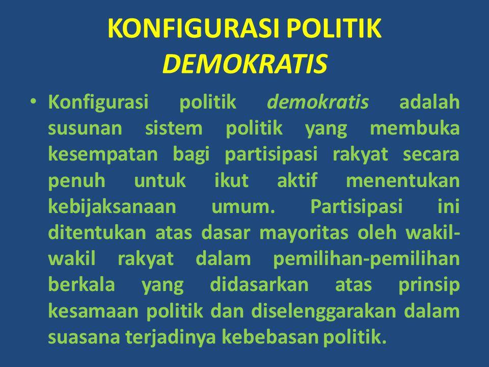 KONFIGURASI POLITIK DEMOKRATIS Konfigurasi politik demokratis adalah susunan sistem politik yang membuka kesempatan bagi partisipasi rakyat secara pen