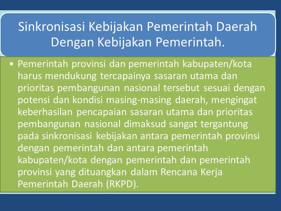 Sinkronisasi Kebijakan Pemerintah Daerah Dengan Kebijakan Pemerintah.