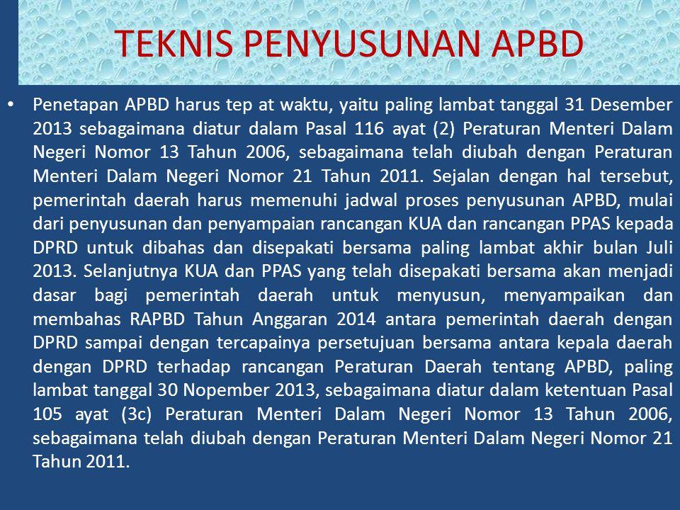 Penetapan APBD harus tep at waktu, yaitu paling lambat tanggal 31 Desember 2013 sebagaimana diatur dalam Pasal 116 ayat (2) Peraturan Menteri Dalam Negeri Nomor 13 Tahun 2006, sebagaimana telah diubah dengan Peraturan Menteri Dalam Negeri Nomor 21 Tahun 2011.