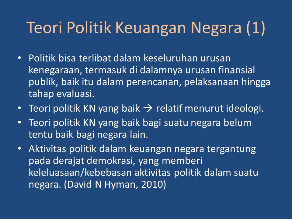 Teori Politik Keuangan Negara (1) Politik bisa terlibat dalam keseluruhan urusan kenegaraan, termasuk di dalamnya urusan finansial publik, baik itu dalam perencanan, pelaksanaan hingga tahap evaluasi.
