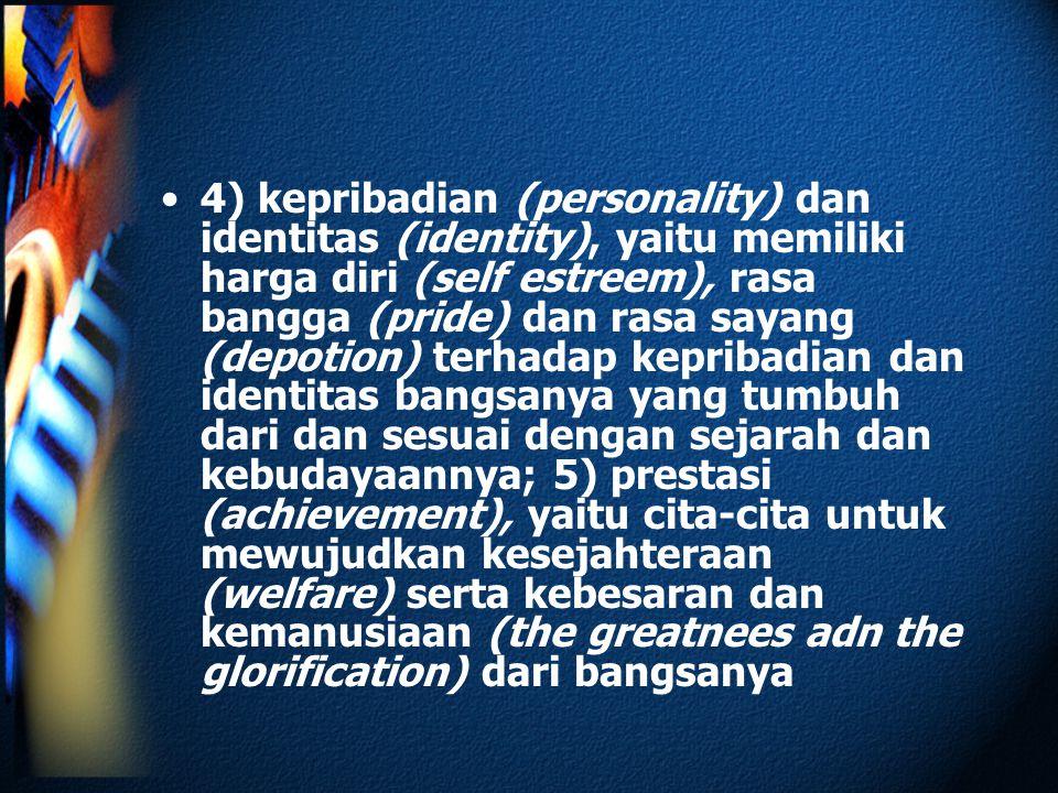 4) kepribadian (personality) dan identitas (identity), yaitu memiliki harga diri (self estreem), rasa bangga (pride) dan rasa sayang (depotion) terhad