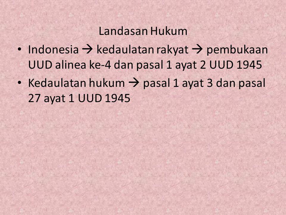 Landasan Hukum Indonesia  kedaulatan rakyat  pembukaan UUD alinea ke-4 dan pasal 1 ayat 2 UUD 1945 Kedaulatan hukum  pasal 1 ayat 3 dan pasal 27 ayat 1 UUD 1945