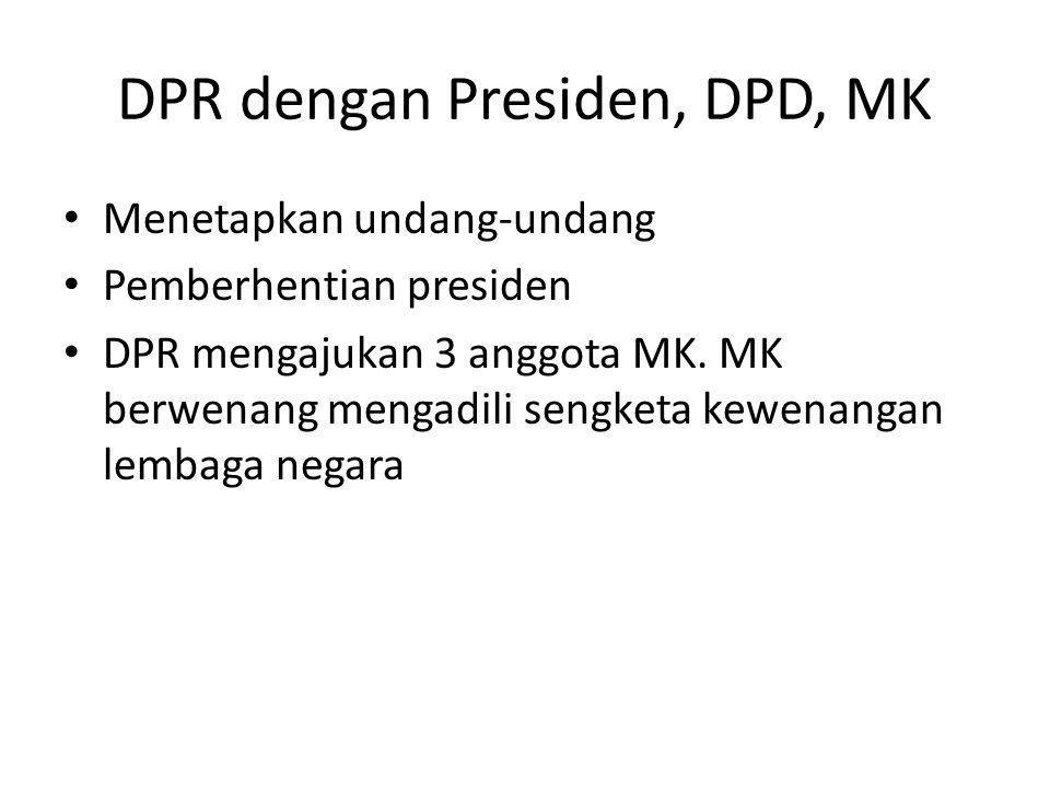 DPR dengan Presiden, DPD, MK Menetapkan undang-undang Pemberhentian presiden DPR mengajukan 3 anggota MK.