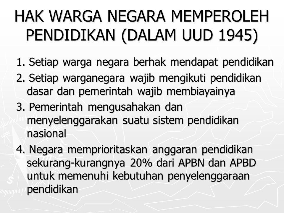 HAK WARGA NEGARA MEMPEROLEH PENDIDIKAN (DALAM UUD 1945) 1.